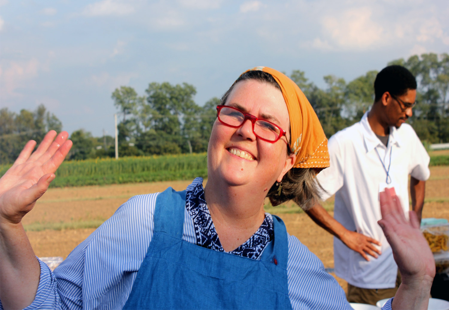 Chef Ouita Michels outdoor cooking at Southeat Grain Gathering heal at University of KY South Farm