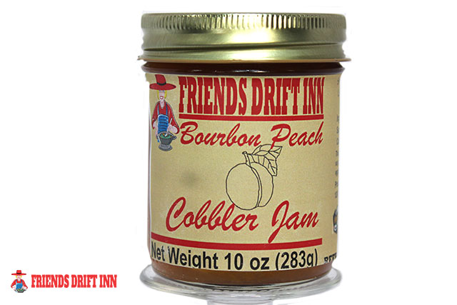 Jar Bourbon Peach Cobbler Jam made by Friends Drift Inn