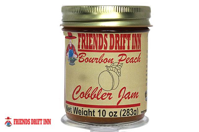Jar Bourbon Peach Cobbler Jam made by Friends Drift Inn