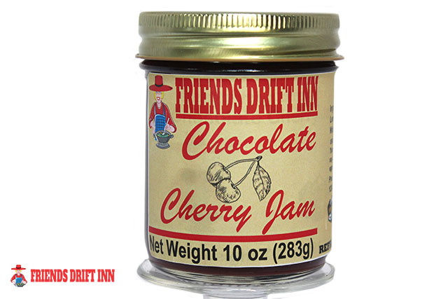 Jar of Chocolate Cherry Jam by Friends Drift Inn