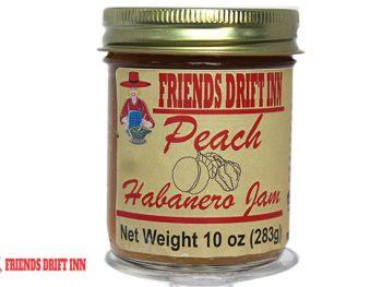 Jar Peach Habanero Jam a pepper jelly from Friends Drift Inn