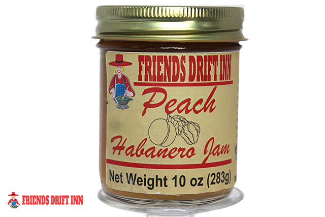 Jar Peach Habanero Jam a pepper jelly from Friends Drift Inn