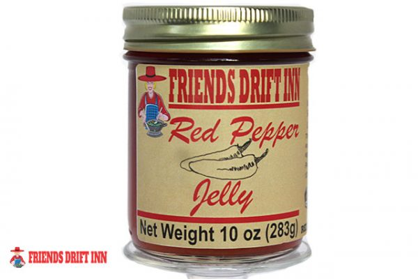 Jar of red pepper jelly by Friends Drift Inn