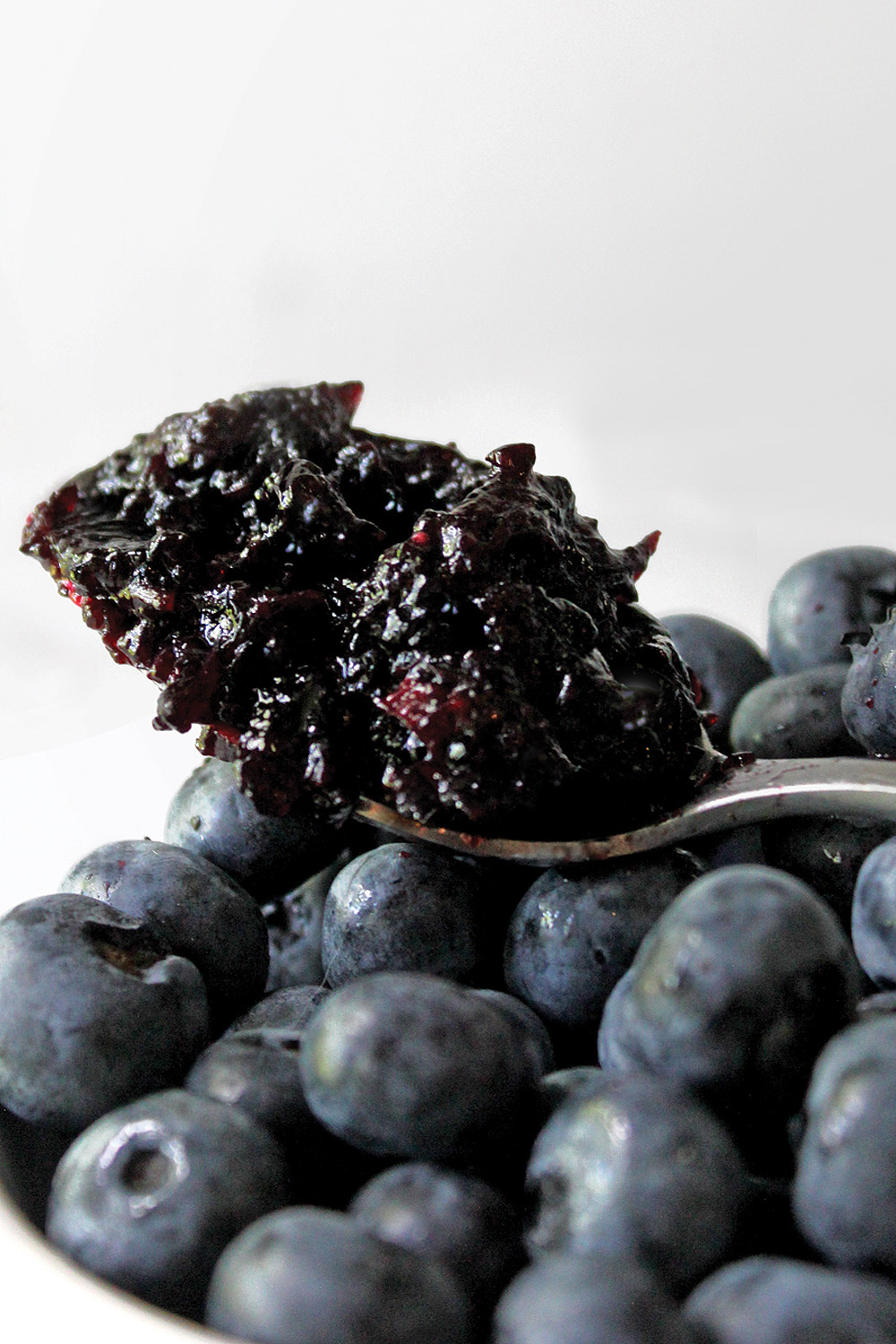 Spoon of Friends Drift Inn Blueberry Cardamom Jam on top of a bowl of fresh blueberries