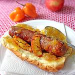 Peach habanero hot dog grilling recipe
