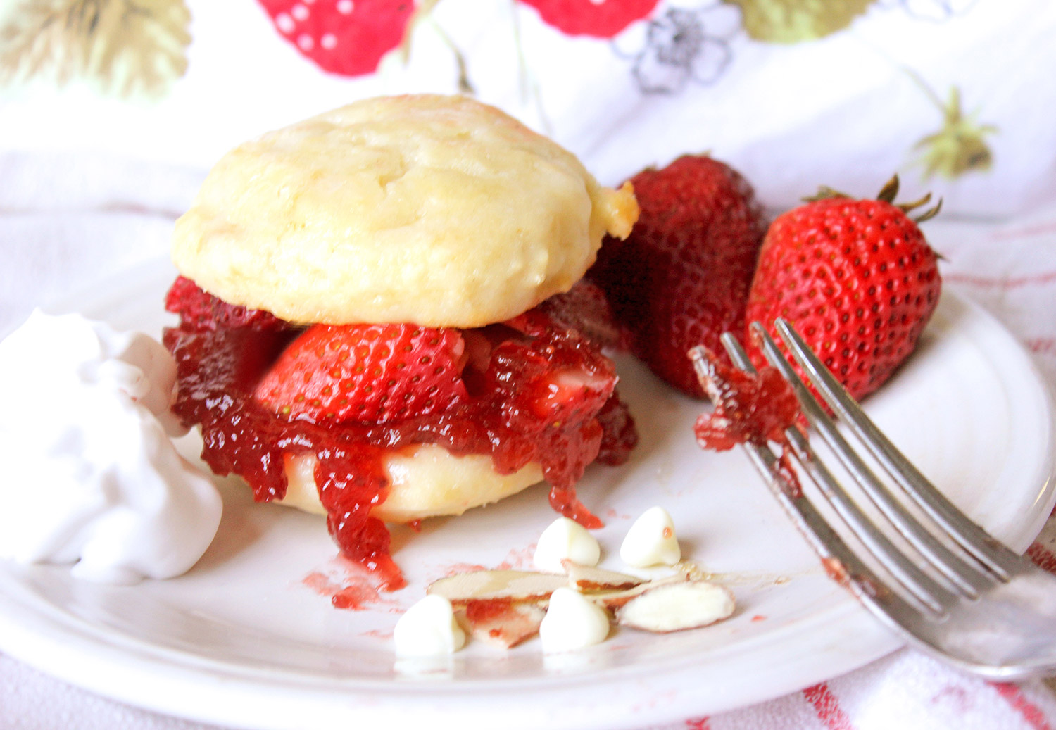 Strawberry Biscuit Scone plated with strawberry jam, fresh strawberries, almonds, and white chocolate chips.
