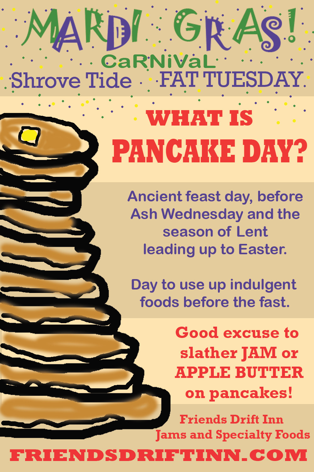 Infographic explaining the Lenten Mardi Gras tradition of Pancake Day