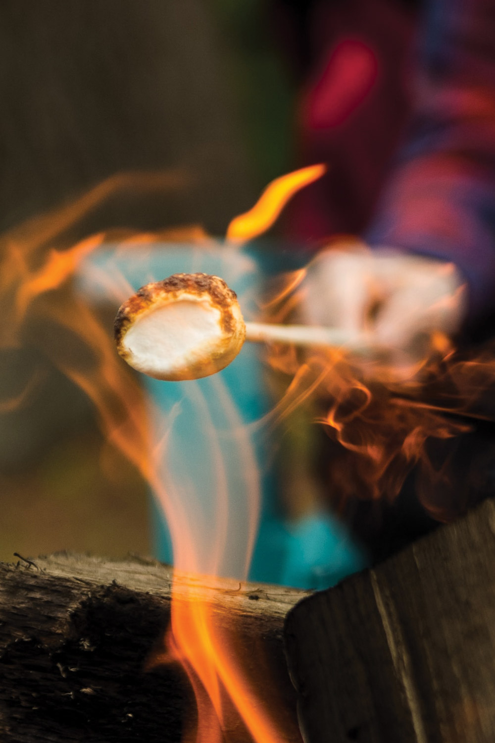 Roasting the perfect marshmallow my way-with flames a blazing.