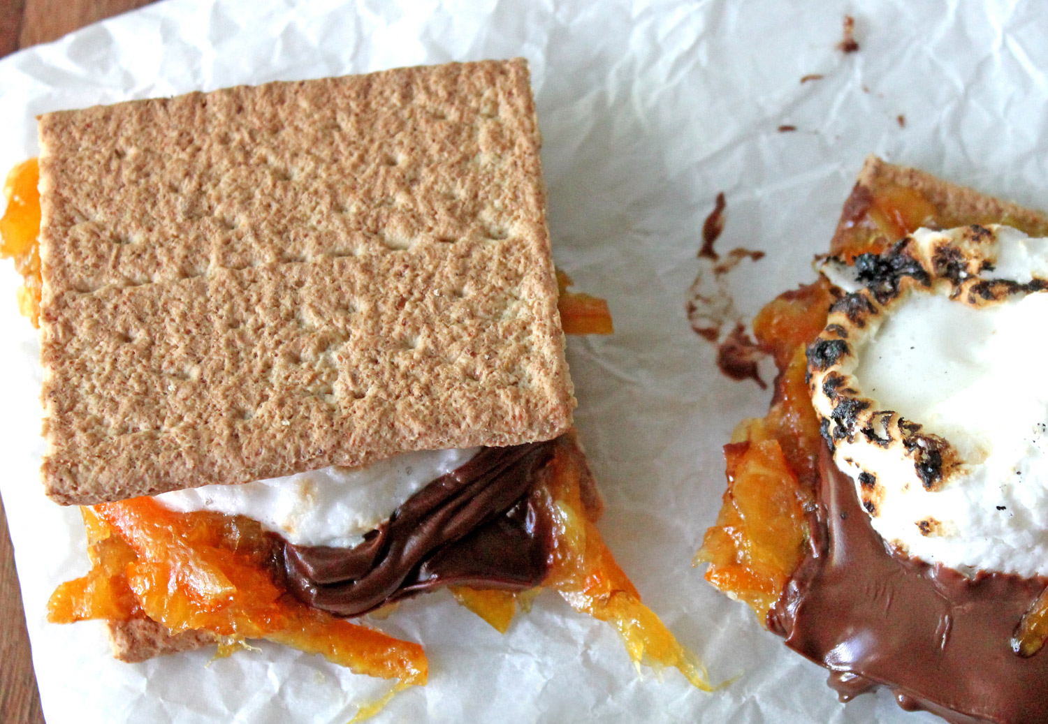 Orange Marmalade S'mores recipe - a gooey cocoction of chocolate, marmalade, and marshmellows.