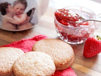 Strawberry Jam Sugar Cookies with Cupid Teapot for Valentines Day