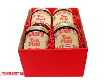 Customize a 4 pack of gourmet gift foods from Friends Drift Inn