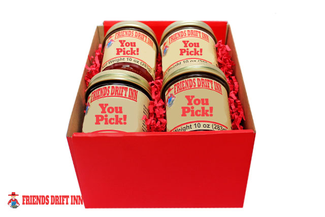 Customize a 4 pack of gourmet gift foods from Friends Drift Inn