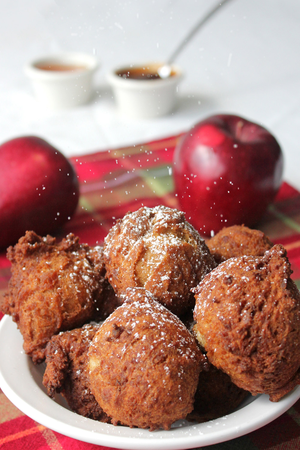 Apple fritters with fresh apples, honey, and apple butter