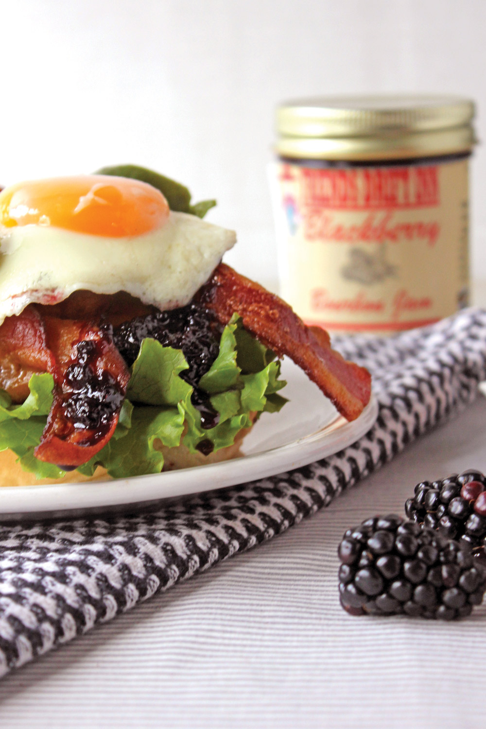 Friends Drift Inn Blackberry Bourbon Jam tops off delicious egg-topped hamburger