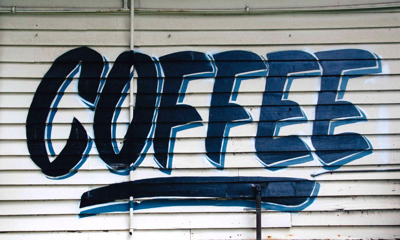 Graffiti sign advertising coffee