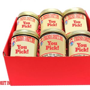 Red gift box with 6 Friends Drift Inn Jams - Labelled You Pick Your Assortment