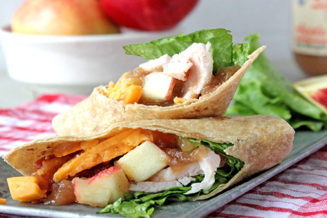 Turkey Wrap with apple butter cut on diagonal.