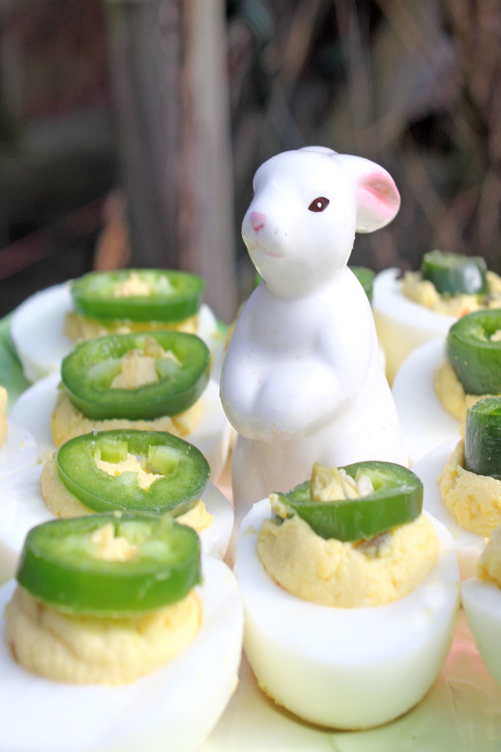 Presentation of Jalapeno Deviled Eggs for party appetizers