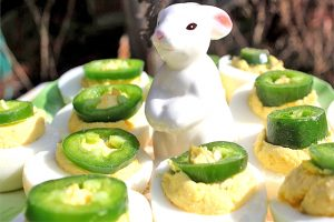 Jalapeno Deviled Eggs on Easter Deviled Eggs Platter with Bunny