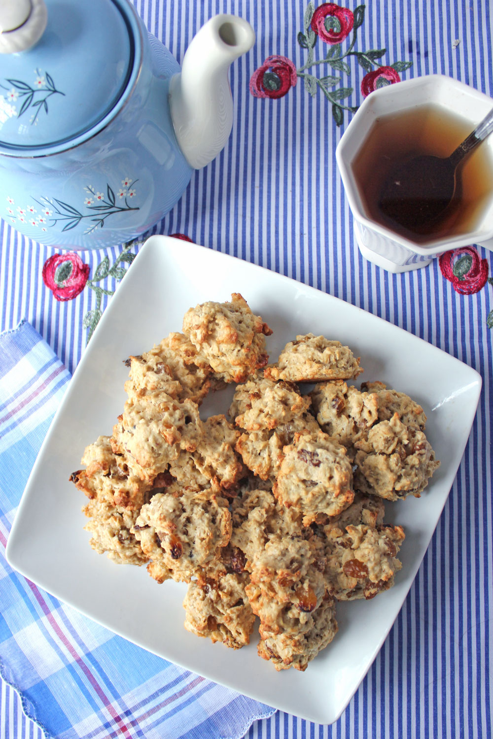Tea cookie size oatmeal raisin cookies are comforting any time!