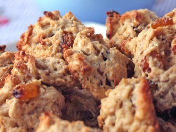Oatmeal Raisin Cookies with bourbon soaked golden raisins