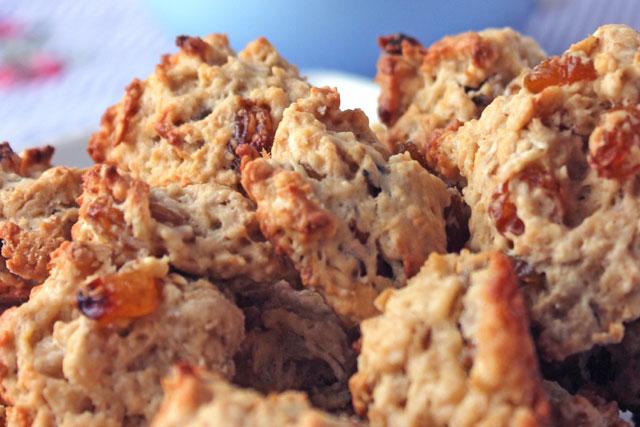 Oatmeal Raisin Cookies with bourbon soaked golden raisins